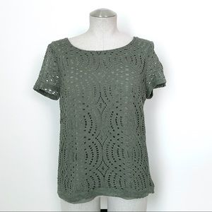 J. Crew Factory Green Lace Top Size 8
